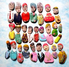 painted rock - summer fun...the heads can be switched for different outfits!