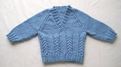 Blue cotton knitted sweater / jumper. Size: 3-6 Months