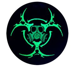 This is an embroidered patch featuring a gas mask inside a space station looking bio-hazard or triple moon symbol.  The size is 3.9 or 10cm across.  This symbol was designed by Jessie Matheny at Psysub using Adobe Photoshop, using a multi-layered system. It was then programmed into an embroidery pattern.  We used neon poly string to embroider this symbol onto a sturdy, thick, knit, black, fabric. It has been sewn to a piece of iron-on backing, and can be ironed into place, but we highly…
