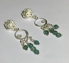 Sea Blue Apatite Chandelier Post Silver Earrings