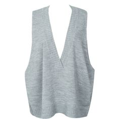 WithChic Gray V Neck Oversized Knit Vest Jumper (€26) ❤ liked on Polyvore featuring tops, sweaters, grey knit sweater, sleeveless vest, gray vest, oversized grey sweater and grey vest