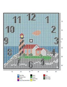 Lighthouse clock Plastic Canvas Stitches, Plastic Canvas Coasters, Plastic Canvas Ornaments, Plastic Canvas Christmas, Plastic Canvas Crafts, Plastic Canvas Patterns, Tissue Box Covers, Tissue Boxes, Canvas Designs
