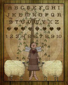 Primitive Angel Sheep Willow Stitchery Cross by HoneyBeePrintables, $3.00