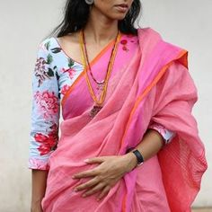 Sarees that speak. Yes, our sarees speak. They have style, swag and tons of personality. Visit the site for details of… Trendy Sarees, Fancy Sarees, Trendy Dresses, Stylish Sarees, Cotton Saree Blouse Designs, Blouse Patterns, Latest Saree Blouse Designs, Saree Models, Blouse Models