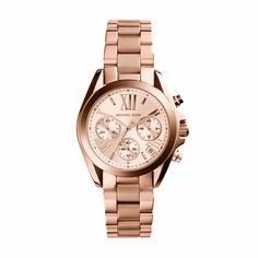 Michael Kors Bradshaw Rose Gold-Tone Stainless Steel Ladies Chronograph Watch. This classic chronograph watch style features a traditional rose gold-toned stainless steel bracelet, accenting a 36mm mi