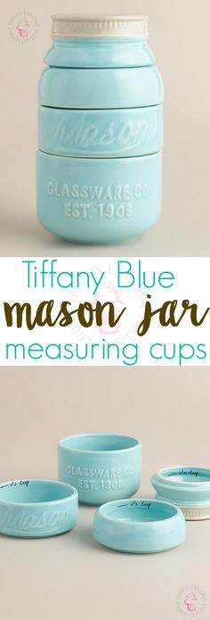 How cute are these Tiffany Blue Mason Jar Ceramic Measuring Cups?! Perfect for using and displaying, or even as photography props! These aren't actually from Tiffany, but rather, in the same Tiffany HEX color family. I just bought these for myself, I couldn't resist!