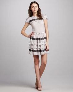 Ruffled Short Sleeve Dress by RED Valentino at Neiman Marcus.