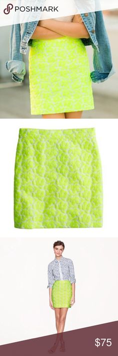 J. Crew Neon Yellow Floral Embroidered Skirt J. Crew Neon Yellow Floral Embroidered Skirt size 2 in excellent condition J. Crew Skirts Mini