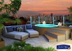 on the terrace terrasse Rooftop Terrace Design, Rooftop Patio, Backyard Patio, Hot Tub Backyard, Garden Pool, Terrace Garden, Jacuzzi Outdoor, Roof Styles, Pergola Shade