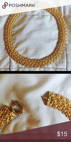 Gold Multi chain Statement Necklace Sooo cute, has small hoop closure. Is 18 inches in length Macy's Jewelry Necklaces