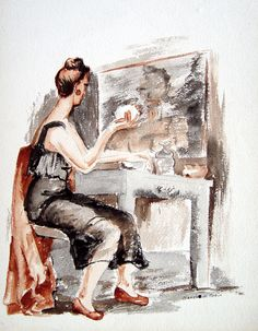 Portrait at the Dressing Table Watercolor