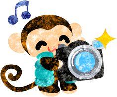 フリーのイラスト素材カメラマンの姿をした可愛いお猿さん  Free Illustration The pretty little monkey which does the figure of the photographer   http://ift.tt/29LqZsD