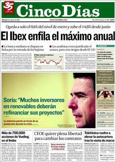 Los Titulares y Portadas de Noticias Destacadas Españolas del 9 de Agosto de 2013 del Diario Cinco Días ¿Que le pareció esta Portada de este Diario Español?
