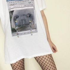 WINDOWS 98 CRYING SEAL MEME PRINT COTTON T-SHIRT #seal #meme #lol #kek #funny #hilarious  #crying #tears #kawaii #cute #tumblr #cyber #print #tshirt #itgirlshop #itgirlclothing #printtee #printtshirt #tee #top #cotton #white #oneck #animal #computer #windows #grid #tights #fishweb