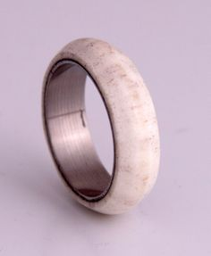 antler ring titanium band with rounded edges plain band on Etsy, $206.00 CAD