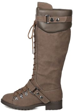 TRAVIS22 GREY LACE UP DUAL SNAP STRAP UTILITY LUG SOLE KNEE HIGH BOOT ONLY $23.88