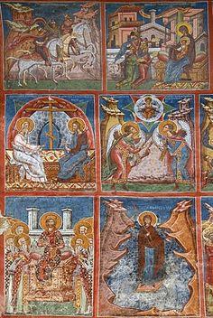 Frescos exteriores, Iglesia de la Anunciación, patrimonio de la humanidad, Moldovita, Bucovina del Sur, Moldavia, Rumania, Europa