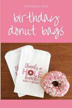 Such a cute idea for a donut themed birthday party! Donut Party Favor Bags - Donut Grow Up - Doughnut Birthday Treat Bag - Girl Donut Birthday Party Decoration - Donut Themed Party for Girls