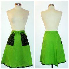 Green Wrap Skirt Vintage Ecofriendly by GreenCarbon2112