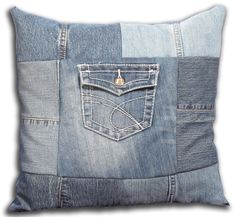 """Hand cut select 16"""" Patchwork Denim Pillow with Pocket - Faux Down Polyester Insert. $42.00, via Etsy."""