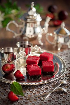 Beautiful dessert tray! ~~GV TIP: Serve cmas appetizer snacks on silver trays.
