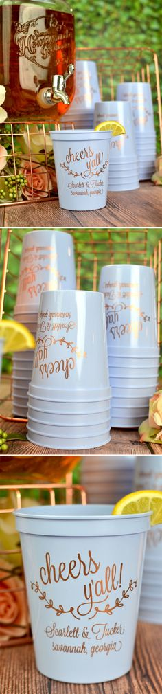 Wedding Souvenir Cups - Stock your wedding drink station with plastic stadium drink cups personalized to compliment your personality. Guests will take them home as souvenirs of your wedding day. Available in many cup color, design, font & imprint color options, these These 16 ounce stadium cups can be personalized for you at https://myweddingreceptionideas.com/16_oz_personalized_stadium_cups.asp