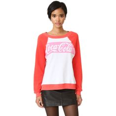 Wildfox Coca Cola Classic Sweatshirt ($108) ❤ liked on Polyvore featuring tops, hoodies, sweatshirts, wildfox sweatshirts, wildfox, wildfox tops, white sweatshirt and white top