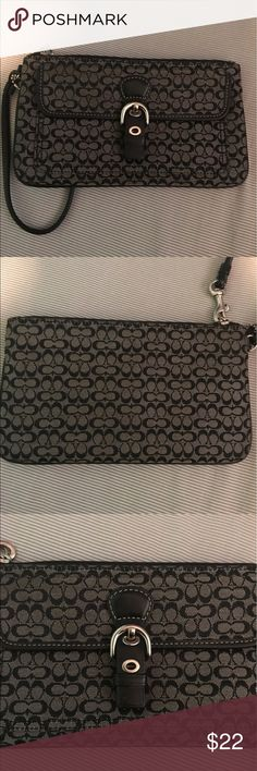 Black Coach Wristlet A few years old but in great condition! No sign of wear! Has buckle clip infront! Big enough to hold your phone and money/cards! Coach Bags Clutches & Wristlets