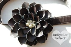 Tuesday Tutorial: Petals and Pearls Headband - Bubbly Nature Creations- Plum/Purple - aybe add some glitter/sparkle? Beaded Flowers, Diy Flowers, Fabric Flowers, Diy Leather Flowers, Dahlia Flowers, Button Flowers, Faux Flowers, Flower Petals, Wedding Flowers