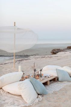Beach wedding pillow seating. Source: valleyandco.com #weddingseating #pillowseating #beachwedding