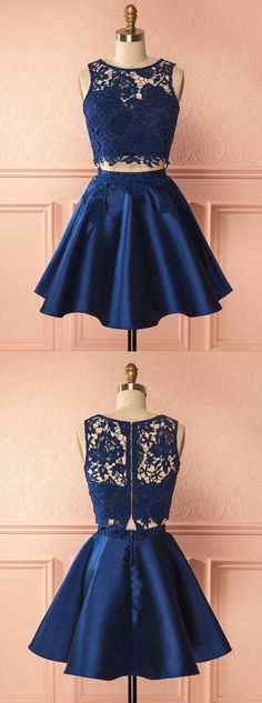 two piece homecoming dresses,lace homecoming dresses,homecoming dresses short,dark blue homecoming dress,YY356