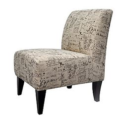 """Autograph Coffee Armless Accent Chair  $129.99        Armless styling with bright multicolor fabric      Will work with any décor - traditional or contemporary      Durable & easy to clean      70% cotton, 30% polyester    23.5""""W x 28""""D x 34""""H"""