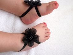 Black Flower Baby Barefoot Sandals Baby Sandals by DonizBaby