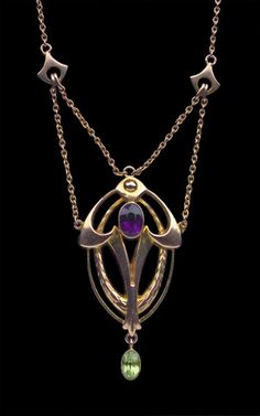 This is not contemporary - image from a gallery of vintage and/or antique objects. MURRLE BENNETT & Co 1896-1916  Art Nouveau Necklace  Gold Amethyst Peridot