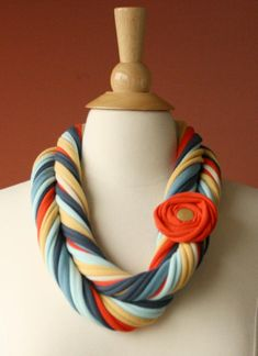 Fabric scarf necklace cowl with flower pin www.ustrendy.com