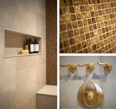 This master bathroom is the ultimate retreat with all the amenities of a luxury spa - Steam shower wall with semi-precious tiger's eye mosaics