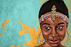 "Maxwell Dickson PrincessMauhbohn-20x30 ""Princess Mauhbohn"" African Graffiti Pop Art Canvas Print Artwork, 20"" x 30"""