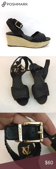 VINCE CAMUTO Norma Black Braided Wedge Sandals Awesome wedge sandals by VC Signature (Vince CAMUTO). Great condition. Light scuffs on soles. Vince Camuto Shoes Wedges