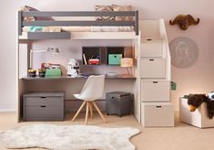 Grey And White Cabin Bed By Asoral - Loft Style Bed For Children's Room With Grey And White Decor