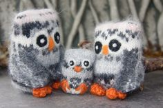 Cozy little Family of Owls Parent Owls holding little by woolcrazy