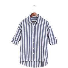 Yoins Casual Dark Blue And White Stripe Pattern Shirt (31 SGD) ❤ liked on Polyvore featuring blue
