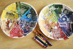 Recycled color wheels made from newspaper ads, magazines, etc. ... love this idea!