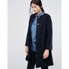 Helene Berman Collarless Swing Coat In Navy (£96) ❤ liked on Polyvore featuring outerwear, coats, navy, helene berman coat and helene berman