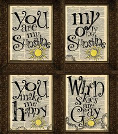 You Are My Sunshine set Dictionary Prints set of 4 by HelloUwall