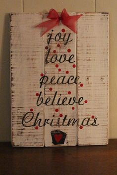 Joy, love, peace, believe, Christmas, pallet sign, recycled wood, wall decor, distressed, winter decor, Christmas decor, cottage chic