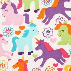 cute fairy tale unicorn fabric colourful Michael Miller USA 1