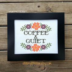 Modern Cross Stitch Pattern Coffee Cross Stitch Funny