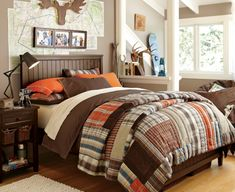 46 Stylish Ideas For Boy's Bedroom Design - love the orange and Brown plaid for rustic room
