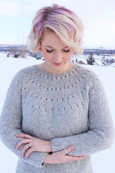 Ravelry: Easy Eyelet Yoke Sweater pattern by Knitatude / Chantal Miyagishima Knitting Kits, Knitting Stitches, Easy Sweater Knitting Patterns, Chantal, Triangle Scarf, Purl Stitch, Knit In The Round, Ravelry, Knit Crochet