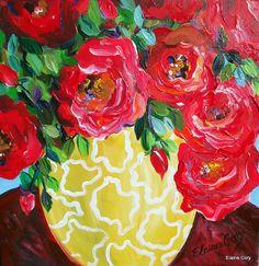Yellow Vase Still life Painting 18 x 18 Original by Elaine Cory by ElainesHeartsong on Etsy Palace Of Fine Arts, Yellow Vase, Art Styles, Artsy Fartsy, Tablescapes, Still Life, Original Paintings, Heaven, Drink